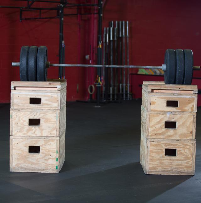 barbell on box